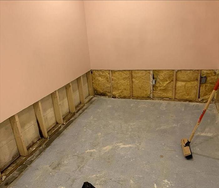 Pink room with bottom 2 feet of drywall removed and all flooring removed.