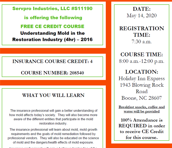 Flyer advertising CE Course including information about time, location, what you will learn